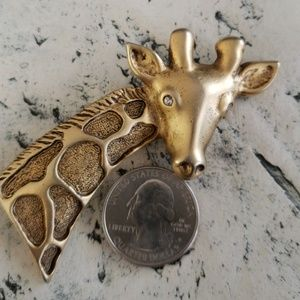 Vintage Large Gold Tone w/ Rhinestone eyes Brooch